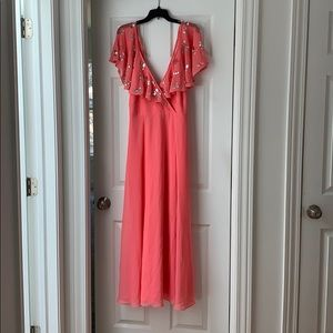 Pink summer flowy party dress